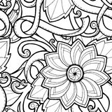 Seamless background in vector with doodles, flowers and paisley. Stock Photography