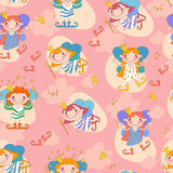 Seamless background vector illustration girls Stock Photography