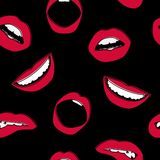 Seamless background. Vector lips. Icon. A woman`s mouth. Red lipstick Stock Images