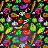 Seamless background with vegetables and fruit Stock Images