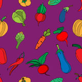 Seamless background of vegetables and spices, vector hand-drawn Stock Image