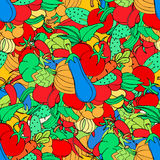 Seamless background of vegetables and spices, vector hand-drawn Royalty Free Stock Images