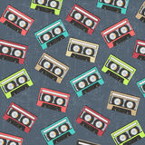Seamless background with vintage analogue music recordable casse Stock Image
