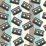 Seamless background with vintage analogue music recordable casse. Ttes,  illustration Stock Photos