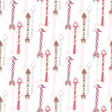 Seamless background of vintage arrow. Hand drawn ethnic arrows texture for textile, print, web. Vector Stock Photo