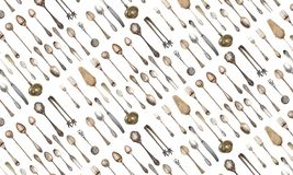 Seamless background vintage cutlery. Retro silverware stock image