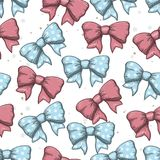 Seamless background of vintage hand drawn ribbon bows. Vector illustration. EPS Stock Photos