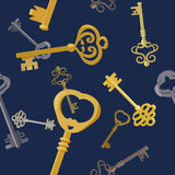 Seamless background with vintage keys Royalty Free Stock Photography