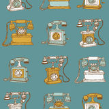 Seamless Background with Vintage Telephones Stock Photography