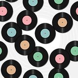 Seamless background with vinyl records Stock Images