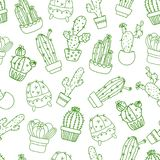 Seamless background, wallpaper, texture, backdrop cartoon cacti. Collection of vector doodle illustrations. Template for. Seamless background, wallpaper, texture Royalty Free Stock Image
