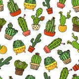Seamless background, wallpaper, texture, backdrop cartoon cacti. Collection of vector doodle illustrations. Template for. Seamless background, wallpaper, texture Stock Images