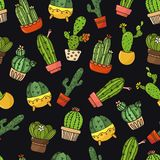 Seamless background, wallpaper, texture, backdrop cartoon cacti. Collection of vector doodle illustrations. Template for. Seamless background, wallpaper, texture Stock Photography