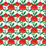 Seamless background with wartah flowers. Vector seamless background of red waratah flower with green leaves. Unique and elegant background seamless pattern for Stock Photo