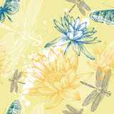 Seamless background with water lilies, dragonflies. And butterflies, hand-drawing Royalty Free Stock Photography