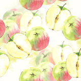 Seamless background with watercolor apples Royalty Free Stock Photography