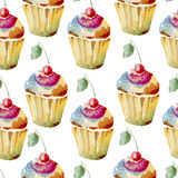 Seamless background of watercolor cakes Stock Photo