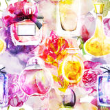 Seamless background with watercolor perfumes and flowers Stock Image