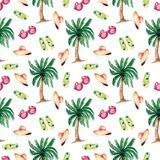 Seamless background with watercolor summer symbols-palm tree,flat slippers shoes,hat and sun glasses in pink color. Bright summer royalty free illustration