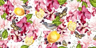 Seamless background with watercolors petunia, magnolia and lemon. Berryes, butterfly  and birds. Lovely realistic garden flowers.