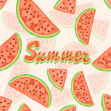 Seamless background with watermelon and lettering Summer Stock Photography