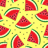 Seamless background with watermelon. Pieces of watermelon on a yellow background. A simple pattern. Vector illustrati Royalty Free Stock Photo