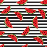 Seamless background watermelon slices on black and white stripes design for holiday greeting vector invitation of seasonal summer vector illustration