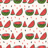 Seamless background with watermelon slices. Vector illustration Royalty Free Stock Photo