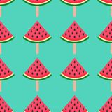 Seamless background with watermelon. Watermelon on a stick. Vector illustration. bright pattern on blue background. Summer time royalty free illustration