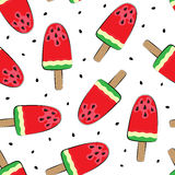 Seamless background with watermelon. Vector illustration. A simple pattern. Summer time Royalty Free Stock Images