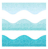 Seamless background wave mosaic of blue color Stock Photos