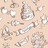 Seamless background with wedding design elements Stock Photos