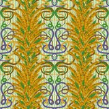 Seamless background with wheat in art nouveau style. Vector illustration Stock Photos