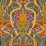 Seamless background with wheat and flowers in art nouveau style. Vector illustration Stock Image