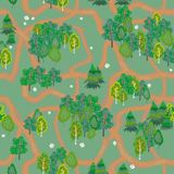 Seamless background, which depicts the forest and trails in the woods. Seamless background that depicts forest and trails in the forest, birch and spruce royalty free illustration