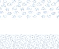 Seamless background, white clouds and waves vector illustration