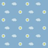 Seamless background, white daisies with yellow center, white clouds on a light blue background, sky, day Stock Photo
