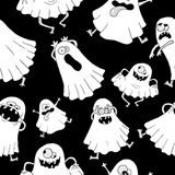 Seamless background with white ghosts Royalty Free Stock Photos