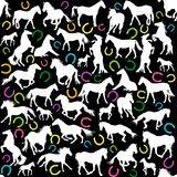 Seamless background with white horses silhouettes and colored ho royalty free illustration