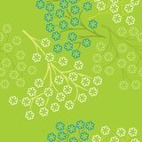 Vector illustration of small flowers on branches on green background royalty free illustration