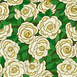 Seamless background with white roses and leaves. Stock Photography