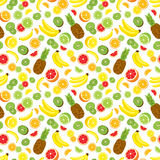 Seamless background with whole pineapple, fresh green kiwi slices, citrus fruits and bananas. Vector illustration Stock Images