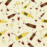 Seamless background wine bottles and glass of wine Stock Photos