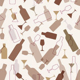 Seamless background with wine bottles and glasses Stock Photography