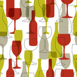 Seamless background with wine bottles and glasses. Stock Photo