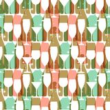 Seamless background with wine bottles and glasses. Bright colors wine pattern for web, poster, textile, print and other design. Re Stock Photo