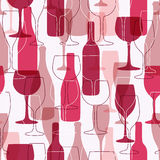 Seamless background with wine bottles and glasses. Bright colors wine pattern for web, poster, textile, print and other design Royalty Free Stock Photography