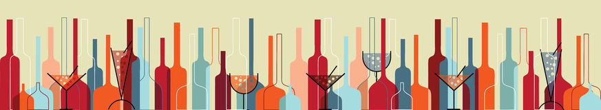 Seamless background with wine bottles and glasses. Seamless background with liquor bottles and glasses horizontal retro vector illustration