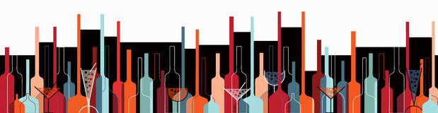 Seamless background with wine bottles and glasses. Seamless background with liquor bottles and glasses horizontal retro stock illustration