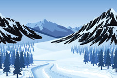 Seamless background with winter landscape. A high quality horizontal seamless background with winter landscape - mountains, forest and snow Stock Photo
